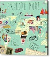 Exlore More World Map Acrylic Print