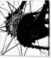 Extreme Close Up Of Chain And Spokes Acrylic Print