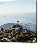 Exuberant Man On Top Of Table Mountain Acrylic Print