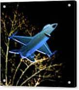 F 16 Lit Up At Night On Glass Monument Acrylic Print
