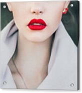 Face Of A Beautiful Girl With Red Lips Acrylic Print