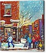 Face Off Street Hockey At The Corner Dep Snow Falling Streets Of Montreal Quebec Artist C Spandau Acrylic Print