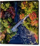 Fall Aerial With Bridge Acrylic Print