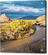 Fall Panorama Of Rio Chama Valley And Changing Cottonwoods - Abiquiu Northern New Mexico  Acrylic Print