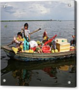 Family & Snake Sell Wares On Tonle Acrylic Print