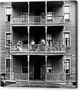 Family On Balcony Of Apartment Building Acrylic Print