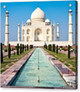 Famous Taj Mahal Mausoleum In In Bright Acrylic Print