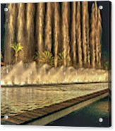 Fantacy Fountain Night Lit San Pedro Gateway Acrylic Print