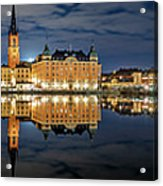 Fantastic Stockholm City Hall And Gamla Stan Reflection With Clouds Acrylic Print