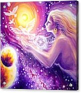 Fantasy Painting About The Flight Of A Dream In The Universe Acrylic Print