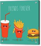 Fast Food Menu. Cola, Hamburger And Acrylic Print