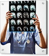 Female Doctor Holds Up Mri In Front Of Acrylic Print