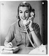 Female Telephone Receptionist At Acrylic Print