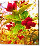 Festive Red Berries On Dancing Green Leaves Acrylic Print