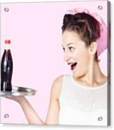 Fifties Style Female Waiter Serving Up Soda Acrylic Print