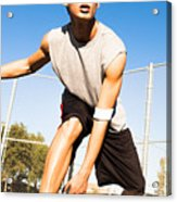 Fit Male Playing Basketball Outdoor Acrylic Print