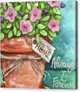 Flower Pink Bless This Home Acrylic Print