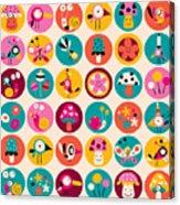 Flowers, Birds, Mushrooms & Snails Acrylic Print
