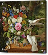 Flowers In A Vase With Two Doves Acrylic Print