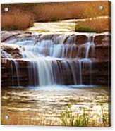 Flowing Water On The Yellow Rock Acrylic Print