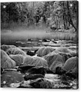 Fog On Yosemite River Acrylic Print