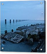 Foggy View Of Chicago From Lakeshore Acrylic Print