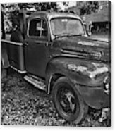 Ford F4 Tow The Truck Hook And Book Black And White Acrylic Print
