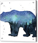 Forest Bear Watercolor Galaxy Acrylic Print