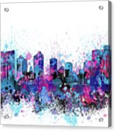 Fort Worth Skyline Color Splatter Acrylic Print