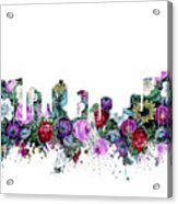 Fort Worth Skyline Floral Acrylic Print
