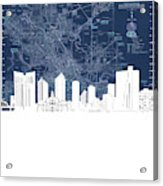 Fort Worth Skyline Map Blue Acrylic Print