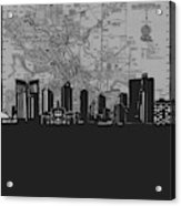 Fort Worth Skyline Map Grey Acrylic Print