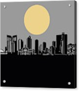 Fort Worth Skyline Minimalism Grey Acrylic Print