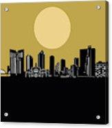 Fort Worth Skyline Minimalism Yellow Acrylic Print