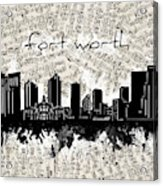Fort Worth Skyline Music Sheet Acrylic Print