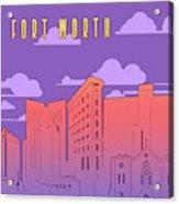 Fort Worth Skyline Panorama Purple Acrylic Print