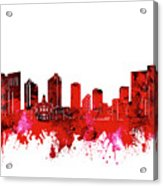 Fort Worth Skyline Red Acrylic Print