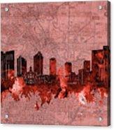 Fort Worth Skyline Vintage Red Acrylic Print
