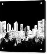 Fort Worth Skyline Watercolor Black And White 2 Acrylic Print