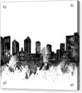 Fort Worth Skyline Watercolor Black And White Acrylic Print