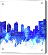 Fort Worth Skyline Watercolor Blue Acrylic Print