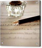 Fountain Pen Atop Sheet Music Acrylic Print