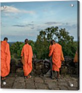 Four Monks And A Phone. Acrylic Print