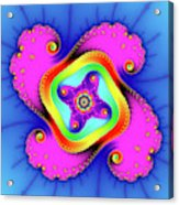 Fractal Art With Bold Colors Square Acrylic Print