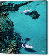 France, Corse Du Sud, Boats Anchored In Acrylic Print