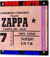 Frank Zappa 1980 Concert Ticket Acrylic Print