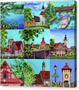 Frankenmuth Downtown Michigan Painting Collage II Acrylic Print