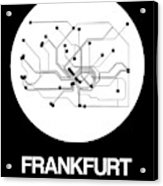 Frankfurt White Subway Map Acrylic Print