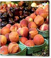 Fresh Peaches At Organic Market Acrylic Print