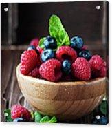 Fresh Sweet Raspberry And Bluberry Acrylic Print